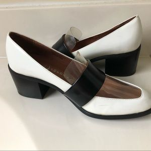 Jeffrey Campbell White Leather Heeled Loafers 9.5